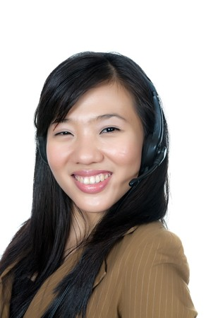 Beautiful support phone operator in headset, isolated on white photo
