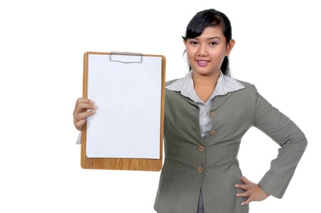 paperboard: Asian business woman hold paperboard isolated over white background. You can put your text on the paper.