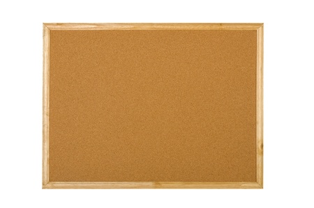 Blank wooden corkboard isolated over white background photo