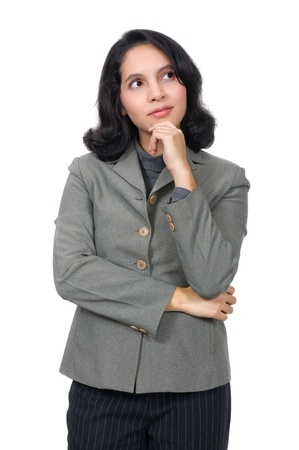 Mixed caucasian asian business woman, thinking on something. Isolated over white background photo