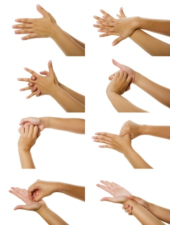 wash: Eight images of woman washhing her hand isolated over white background