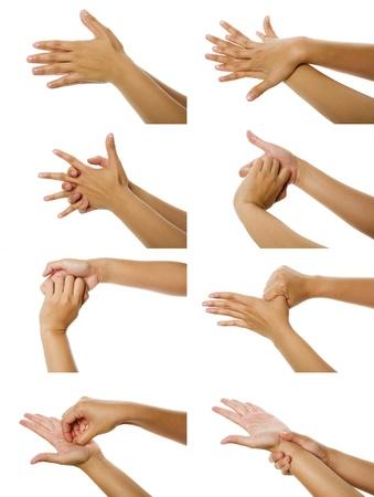 lavare le mani: Otto immagini della donna washhing mano isolato su sfondo bianco