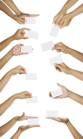 Eleven images of hand giving blank namecard isolated over white background. You can put your text on the hand photo