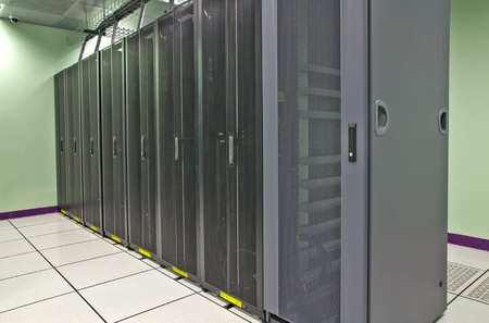 Datacenter rack in the row. Locate in data center room