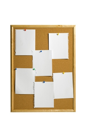 six sheets of papers on the corkboard you can put your message on the paper