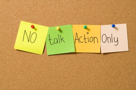 No talk action only writing on the paper attached on the cork board Stock Photo - 10313105