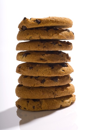 choco chips: Chocolate Chips Cookies stacked and isolated over white background