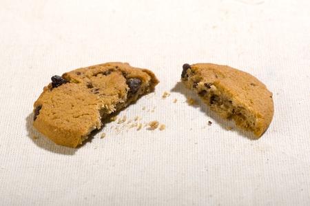 khakis: Crumpled chocolated chip cookie on khakis fabric background