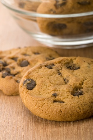 choco chips: Chocolate chips cookies on wooden background