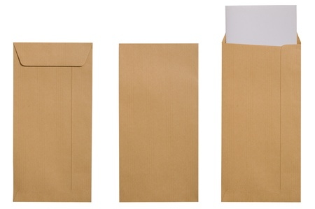 Blank brown envelope with paper isolate over white background Stock Photo - 12708977