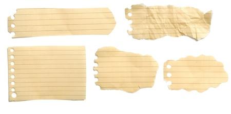 gescheurd papier: Set van gevoerde bruine lijn papier U kunt voor uw bericht