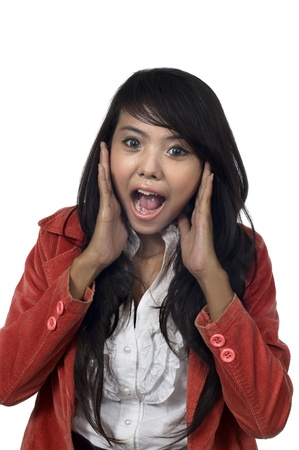Asian woman get shock hearing some news Stock Photo - 13454783