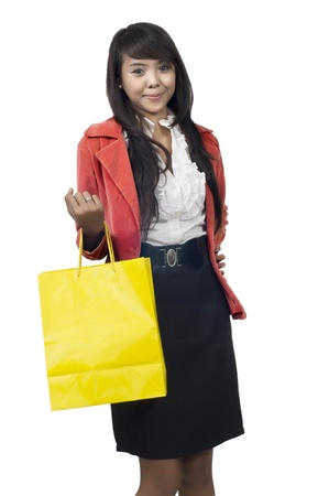 Business woman going shopping isolated over white background Stock Photo - 13554690