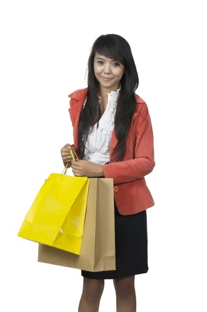 Business woman going shopping isolated over white background Stock Photo - 13554689