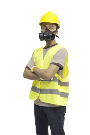 Worker wearing work gear isolated over white background photo