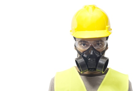 safety googles: Worker wearing work gear isolated over white background