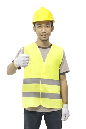 Worker give an ok sign isolated over white background photo