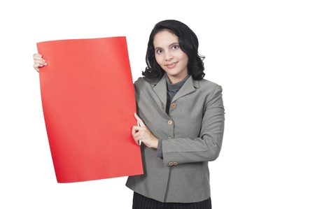 Mixed race caucasian asian business woman show blank red paper  You can put your message here Stock Photo - 13901241