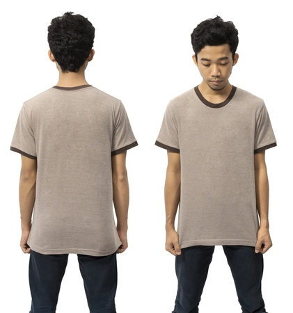 Young man wearing empty shirt, you can put your design on the shirt photo