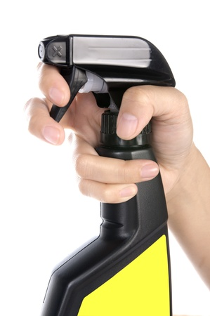 insecticidal: Woman spraying cleaner isolated over white background. You can put your message on yellow area