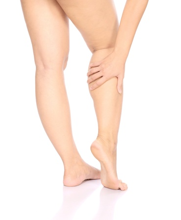 Knee Injury. Woman holding on her leg isolated over white background photo