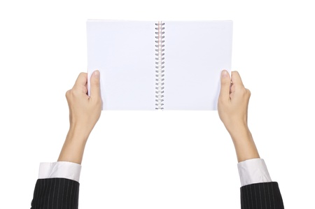 Business woman hold blank notebook isolated over white background. You can put your message on the paper photo