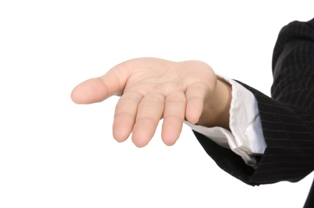 Business woman hand showing something isolated over white background. You can put something on the hand photo