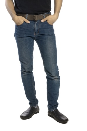 Man wearing jeans and shoes isolated over white background Stock Photo - 14580325