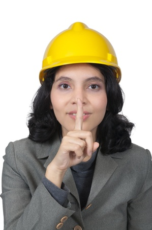 Mix race architect woman shut her mouth isolated over white background photo