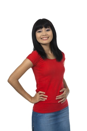 Asian woman in red shirt, posing isolated over white background photo