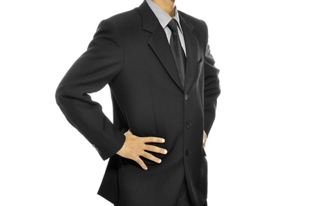 Black business suit with tie isolated over white background photo