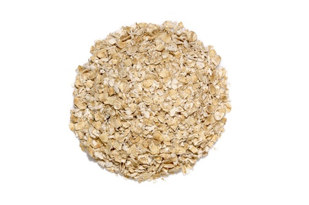 Round shape oatmeal isolated over white background photo