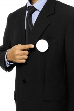 Man met zwart pak met lege gespeld knop U kunt uw ontwerp op de knop verkiezingsdag achtergrond of concept Stockfoto - 15717831