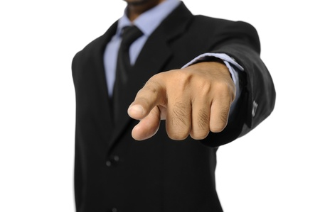 Man with black business suit pointing to you isolated over white background Stock Photo - 15717841