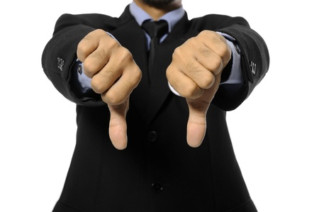 Man with business suit give two thumb down  Election day background or concept Stock Photo - 15717829