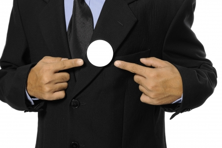 Man with black business suit with blank pinned button  You can put your design on the button  Election day background or concept Stock Photo - 15717835