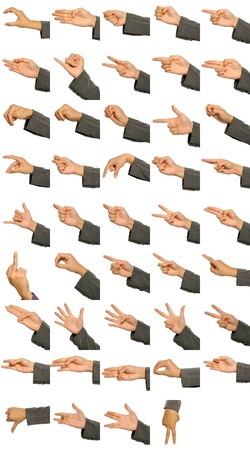 Many different hand signs isolated over white background Stock Photo - 15748862
