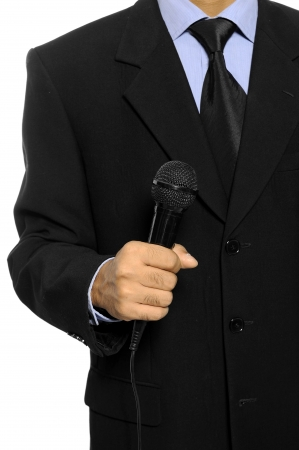 Man with black business suit hold microphone  Election day background or concept Stock Photo - 15748892