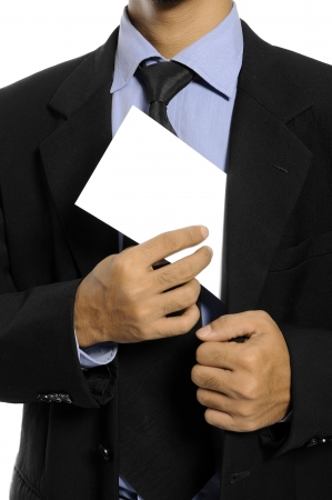 Business man showing blank envelope isolated over white background  You can put your message on the envelope Stock Photo - 15748897