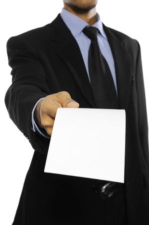 Business man showing blank envelope isolated over white background  You can put your message on the envelope photo