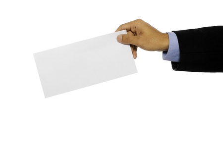 Business man showing blank envelope isolated over white background  You can put your message on the envelope Stock Photo - 15748865