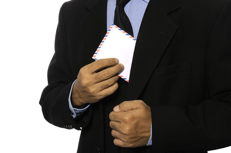 Business man showing blank envelope isolated over white background  You can put your message on the envelope Stock Photo - 15748895