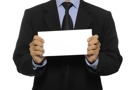 Business man showing blank envelope isolated over white background  You can put your message on the envelope Stock Photo - 15748888