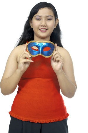 Fat asian chubby girl wear mask isolated over white background photo