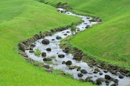 Small river on the prairie with green grass on the side photo