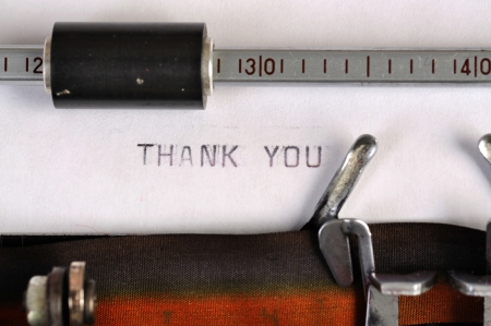Thank you typed on the paper with old type writer photo
