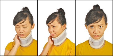 Set of neck support images on asian woman photo
