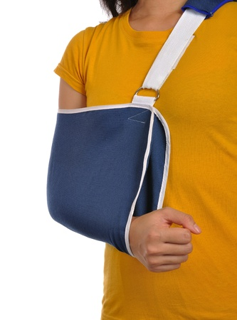 A Woman wearing hand sling because get accident Stock Photo