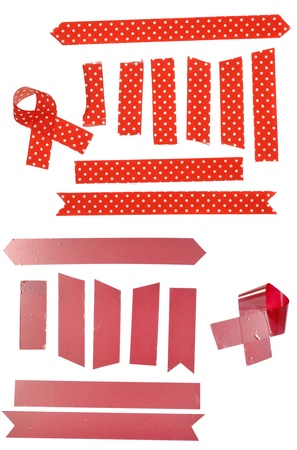 tear duct: Collection of adhesive tape pieces on white background