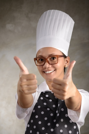 Funny woman chef say its ok. Good food concept photo